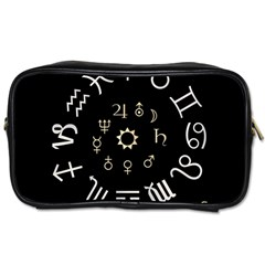 Astrology Chart With Signs And Symbols From The Zodiac Gold Colors Toiletries Bags 2 Side