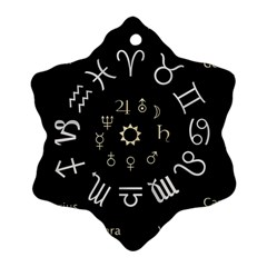 Astrology Chart With Signs And Symbols From The Zodiac Gold Colors Ornament (snowflake)