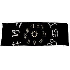Astrology Chart With Signs And Symbols From The Zodiac Gold Colors Body Pillow Case Dakimakura (two Sides)