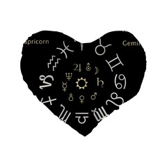 Astrology Chart With Signs And Symbols From The Zodiac Gold Colors Standard 16  Premium Heart Shape Cushions