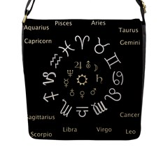 Astrology Chart With Signs And Symbols From The Zodiac Gold Colors Flap Messenger Bag (l)