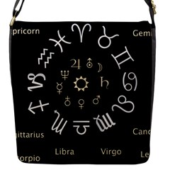 Astrology Chart With Signs And Symbols From The Zodiac Gold Colors Flap Messenger Bag (s)