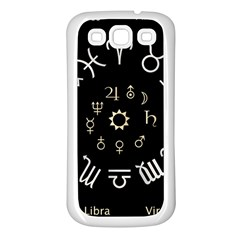 Astrology Chart With Signs And Symbols From The Zodiac Gold Colors Samsung Galaxy S3 Back Case (white)