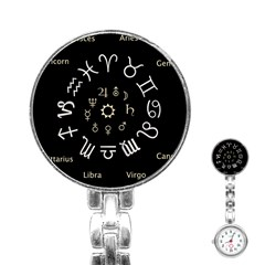 Astrology Chart With Signs And Symbols From The Zodiac Gold Colors Stainless Steel Nurses Watch