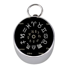 Astrology Chart With Signs And Symbols From The Zodiac Gold Colors Mini Silver Compasses
