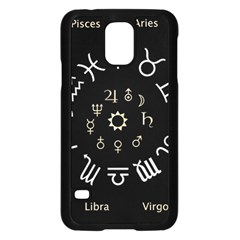 Astrology Chart With Signs And Symbols From The Zodiac Gold Colors Samsung Galaxy S5 Case (black)