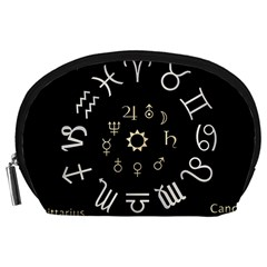 Astrology Chart With Signs And Symbols From The Zodiac Gold Colors Accessory Pouches (large)