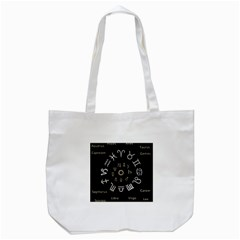 Astrology Chart With Signs And Symbols From The Zodiac Gold Colors Tote Bag (white)