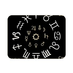 Astrology Chart With Signs And Symbols From The Zodiac Gold Colors Double Sided Flano Blanket (mini)