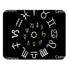 Astrology Chart With Signs And Symbols From The Zodiac Gold Colors Double Sided Flano Blanket (large)