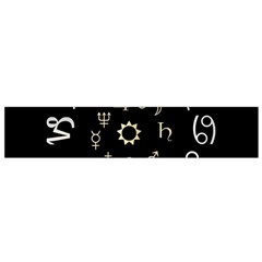 Astrology Chart With Signs And Symbols From The Zodiac Gold Colors Flano Scarf (Small)
