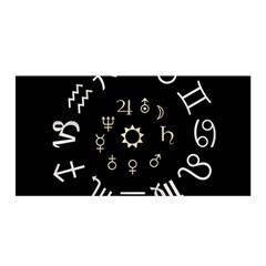 Astrology Chart With Signs And Symbols From The Zodiac Gold Colors Satin Wrap
