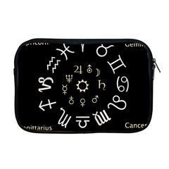 Astrology Chart With Signs And Symbols From The Zodiac Gold Colors Apple Macbook Pro 17  Zipper Case