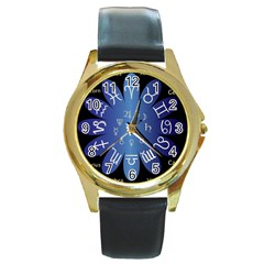 Astrology Birth Signs Chart Round Gold Metal Watch