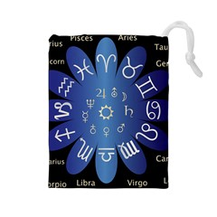 Astrology Birth Signs Chart Drawstring Pouches (large)