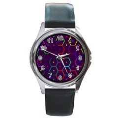 Color Bee Hive Pattern Round Metal Watch