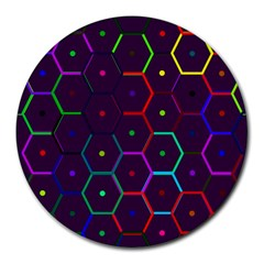 Color Bee Hive Pattern Round Mousepads