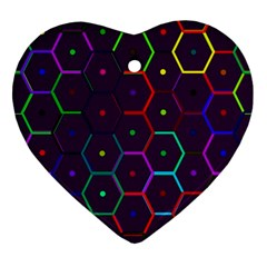 Color Bee Hive Pattern Ornament (heart)