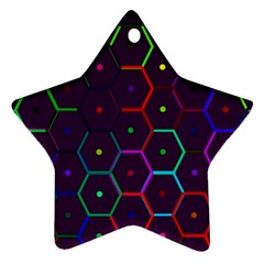 Color Bee Hive Pattern Ornament (star)