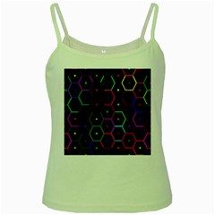 Color Bee Hive Pattern Green Spaghetti Tank
