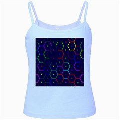 Color Bee Hive Pattern Baby Blue Spaghetti Tank