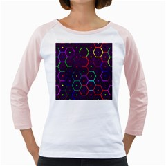 Color Bee Hive Pattern Girly Raglans