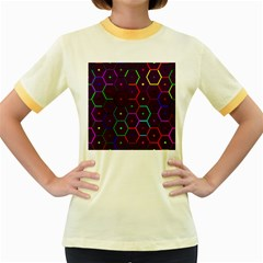 Color Bee Hive Pattern Women s Fitted Ringer T Shirts