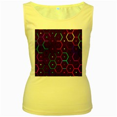 Color Bee Hive Pattern Women s Yellow Tank Top