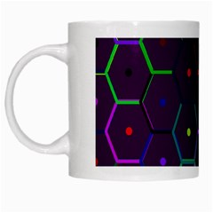 Color Bee Hive Pattern White Mugs