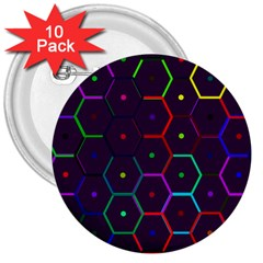 Color Bee Hive Pattern 3  Buttons (10 pack)