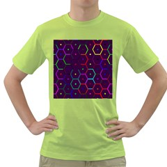 Color Bee Hive Pattern Green T Shirt