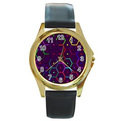 Color Bee Hive Pattern Round Gold Metal Watch