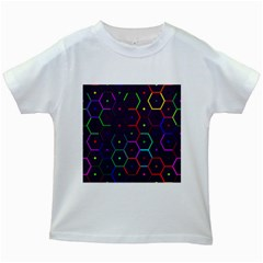 Color Bee Hive Pattern Kids White T Shirts