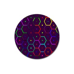 Color Bee Hive Pattern Magnet 3  (round)