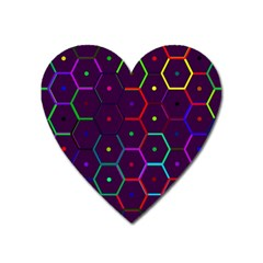 Color Bee Hive Pattern Heart Magnet