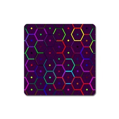 Color Bee Hive Pattern Square Magnet
