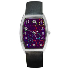 Color Bee Hive Pattern Barrel Style Metal Watch