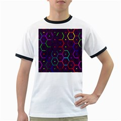 Color Bee Hive Pattern Ringer T Shirts