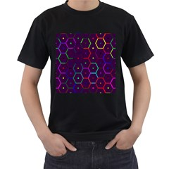 Color Bee Hive Pattern Men s T Shirt (black) (two Sided)