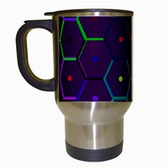 Color Bee Hive Pattern Travel Mugs (white)