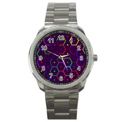 Color Bee Hive Pattern Sport Metal Watch