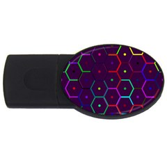 Color Bee Hive Pattern Usb Flash Drive Oval (4 Gb)