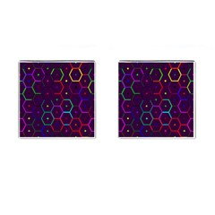 Color Bee Hive Pattern Cufflinks (square)