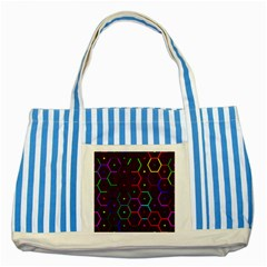 Color Bee Hive Pattern Striped Blue Tote Bag