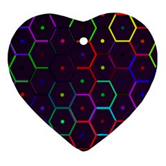 Color Bee Hive Pattern Heart Ornament (two Sides)