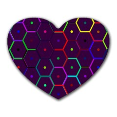 Color Bee Hive Pattern Heart Mousepads