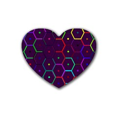 Color Bee Hive Pattern Heart Coaster (4 Pack)