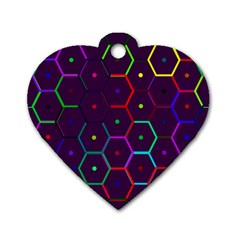 Color Bee Hive Pattern Dog Tag Heart (two Sides)