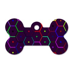 Color Bee Hive Pattern Dog Tag Bone (two Sides)