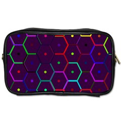 Color Bee Hive Pattern Toiletries Bags 2 Side